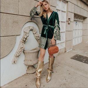 Zara Golden Kitten heel boots metallic tall slouchy boots